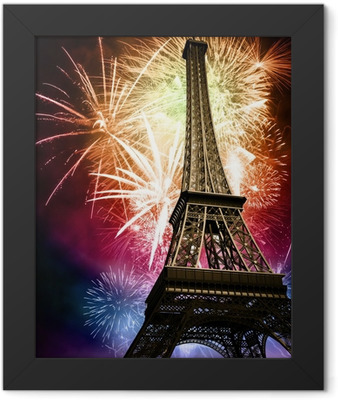 eiffel with fireworks Framed Poster