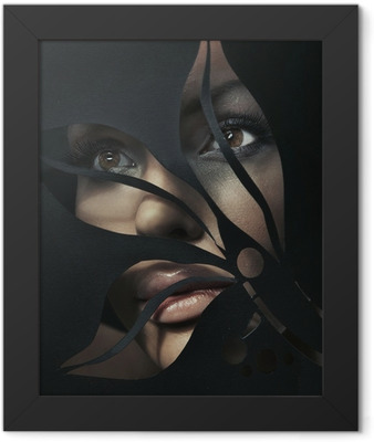 Shaped portrait of a beautiful woman Framed Poster