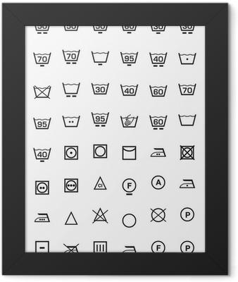 set icone lavaggio e lavatrice Framed Poster
