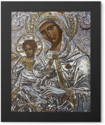 Blessed Virgin Mary and Baby Jesus Art work Framed Poster