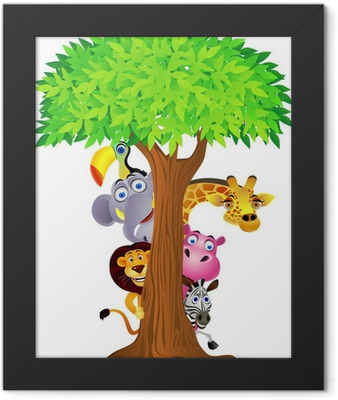 Animal hiding behind tree Framed Poster
