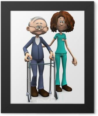 Cartoon nurse helping older man with walker. Framed Poster