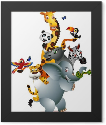 a variety of cute animals Framed Poster
