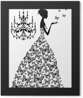 woman with butterflies, vector Framed Poster