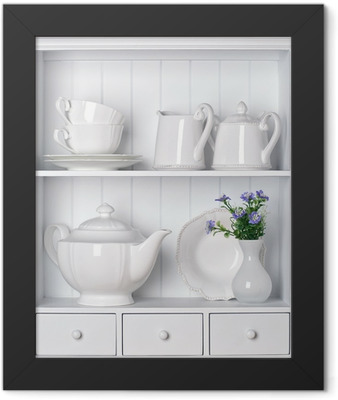 White shelf with vintage porcelain tableware Framed Poster
