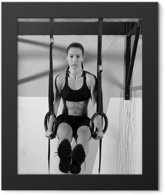 Crossfit dip ring woman workout at gym dipping Framed Poster