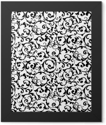 Black seamless pattern,silhouette Framed Poster