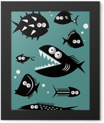 Set of funny fishes Framed Poster