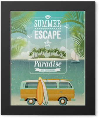 Vintage seaside view poster with surfing van. Vector background. Framed Poster