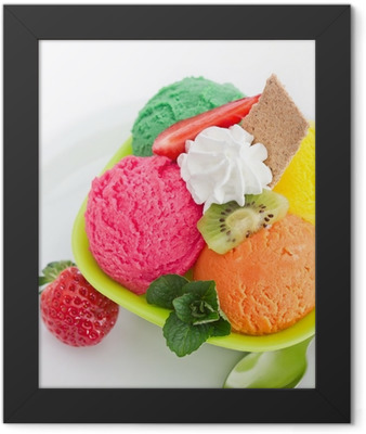 Bowl with fruit ice cream Framed Poster