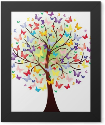 Vector beautiful spring tree, consisting of butterflies Framed Poster