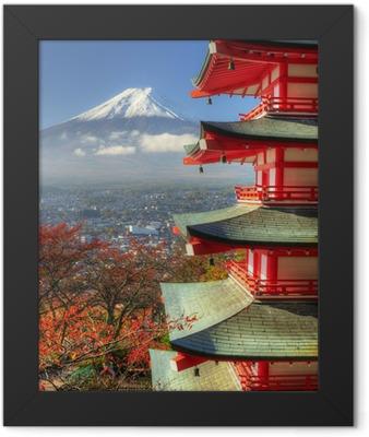 Mt. Fuji and Autumn Leaves at Arakura Sengen Shrine in Japan Framed Poster