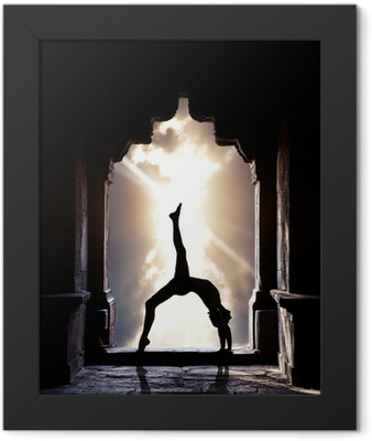 Yoga silhouette in temple Framed Poster