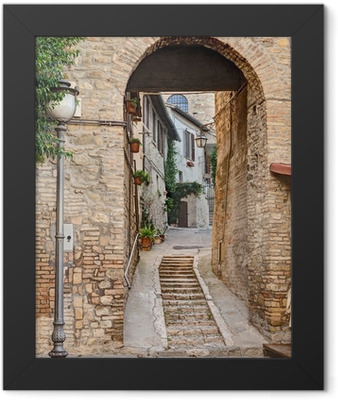 ancient alley in Bevagna, Italy Framed Poster