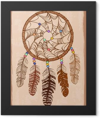 Illustration with tribal dreamcatcher Framed Poster