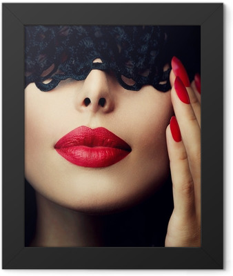 Beautiful Woman with Black Lace Mask over her Eyes Framed Poster