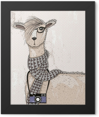 Cute hipster lama with photo camera, glasses and scarf Framed Poster
