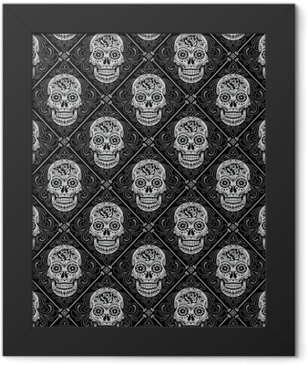 Day of the Dead Seamless Pattern Framed Poster