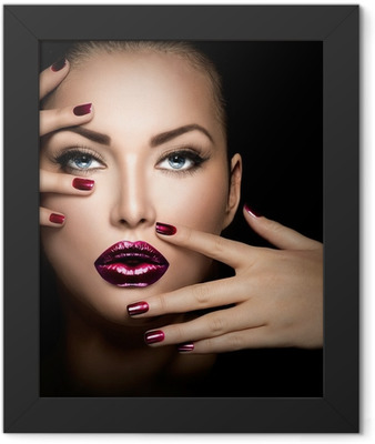 Fashion model girl face, beauty woman makeup and manicure Framed Poster