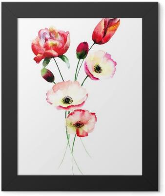 Poppy and Tulips flowers Framed Poster
