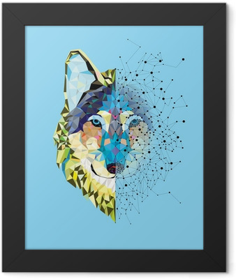 Wolf head in geometric pattern with star line vector Framed Poster