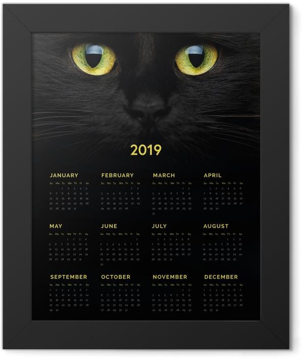 Calendar 2019 - Black cat Framed Poster - Calendars 2019