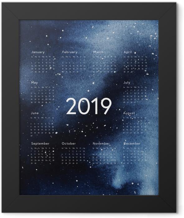 Calendar 2019 - galaxy Framed Poster - Calendars 2019