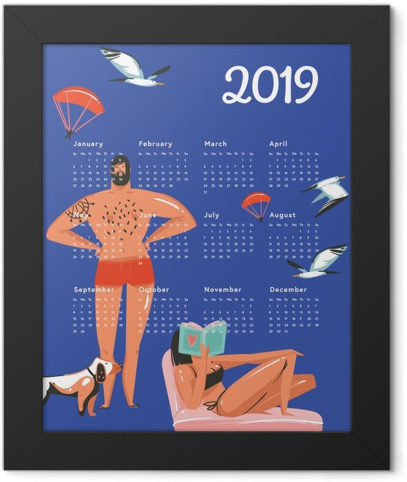 Calendar 2019 - rest on the beach Framed Poster - Calendars 2019