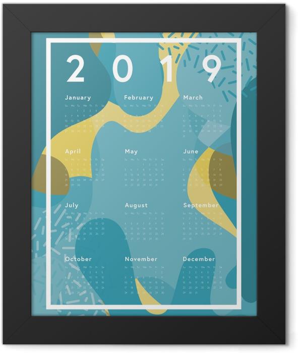 Calendar 2019 - blue abstraction Framed Poster - Calendars 2019