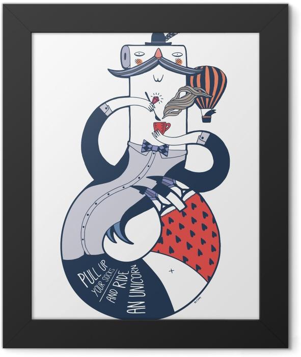 Kolorowy elegancki Pan Framed Poster -