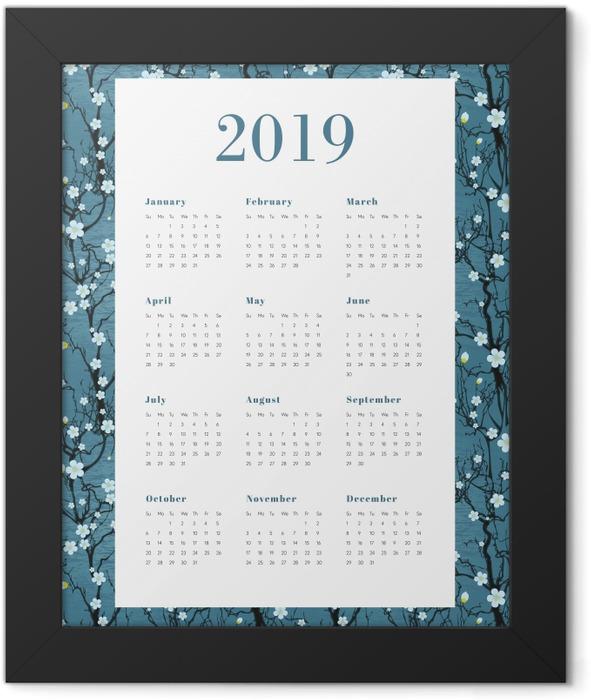 Calendar 2019 - White flowers Framed Poster - Calendars 2019