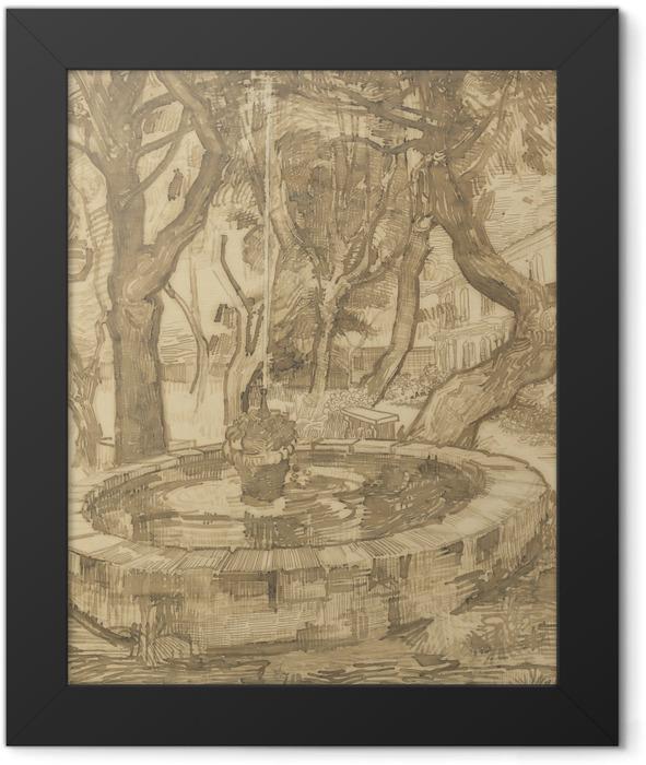 Poster en cadre Vincent van Gogh - Fontaine dans le jardin de l'asile - Reproductions