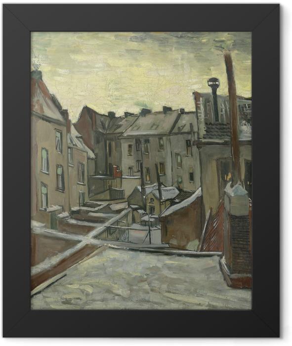 Poster en cadre Vincent van Gogh - Arrière-cours des maisons anciennes à Anvers dans la neige - Reproductions
