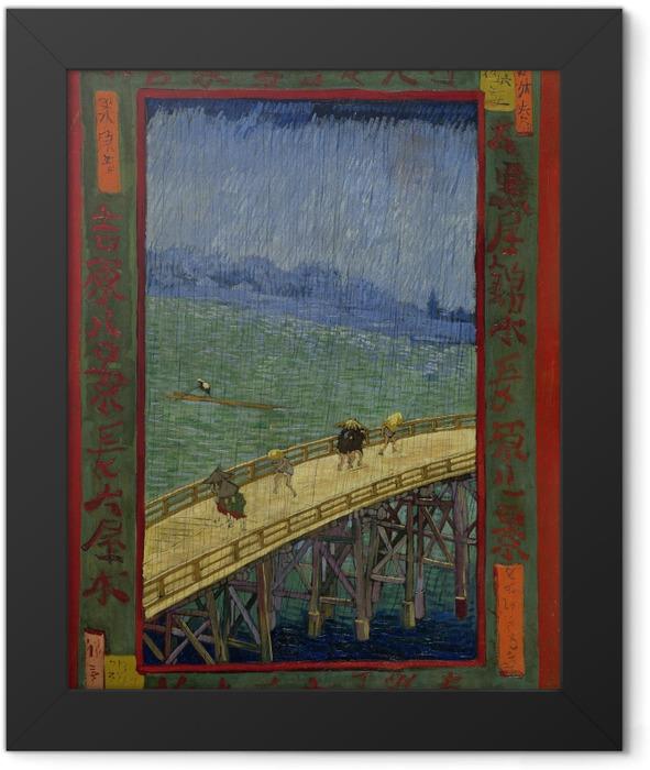 Gerahmtes Poster Vincent van Gogh - Die Brücke im Regen - Reproductions