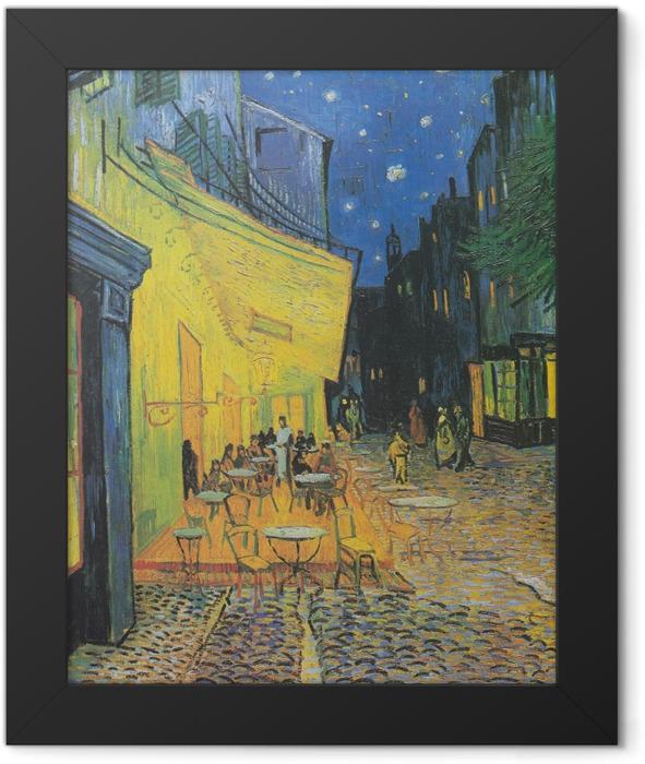 Gerahmtes Poster Vincent van Gogh - Caféterrasse am Abend - Reproductions
