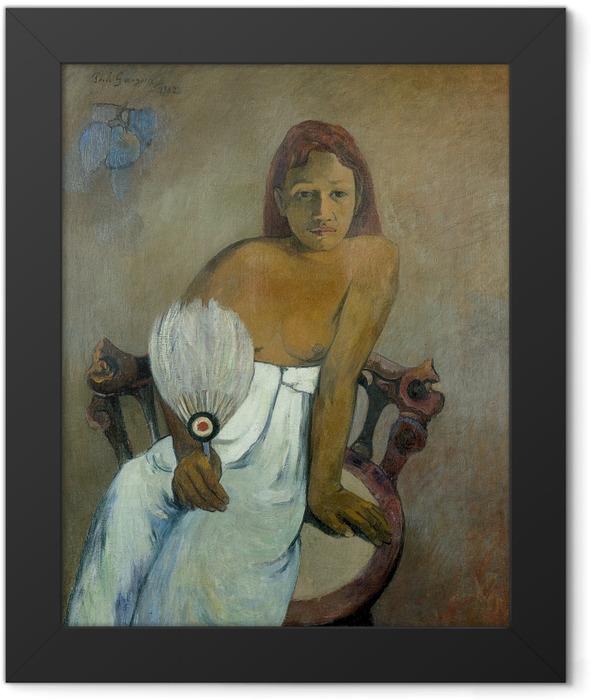Plakat w ramie Paul Gauguin - Dziewczyna z wahlarzem - Reprodukcje
