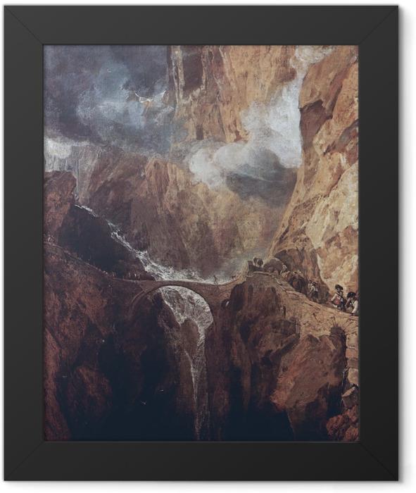 Gerahmtes Poster William Turner - Der Gotthardpass - Reproduktion