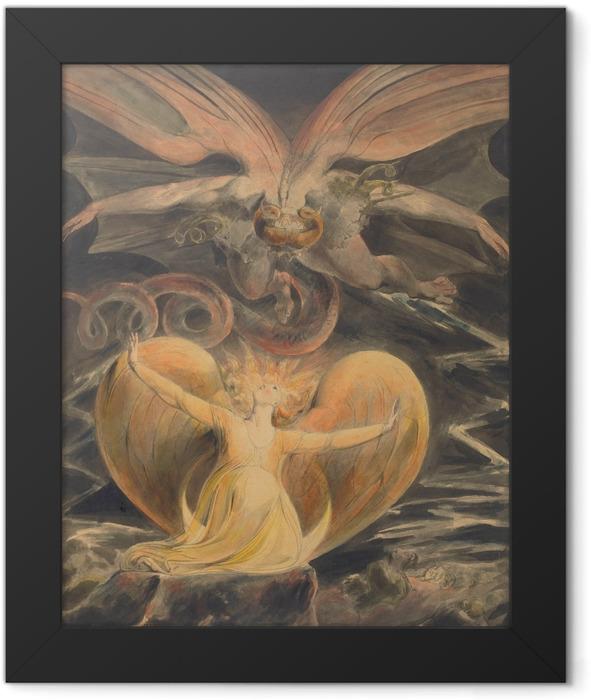 Poster en cadre William Blake - Le grand Dragon Rouge et la Femme vêtue de soleil - Reproductions