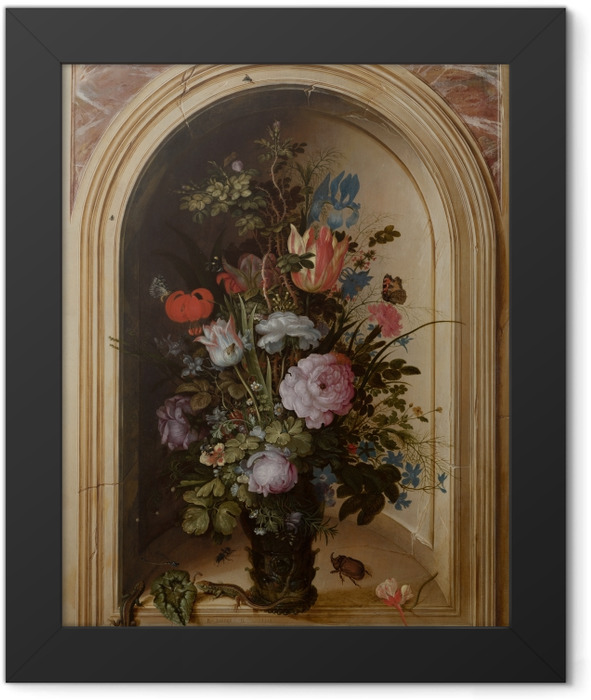 Gerahmtes Poster Roelant Savery - Vase with Flowers in a Stone Niche - Reproduktion