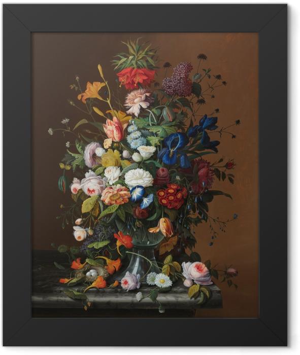 Gerahmtes Poster Severin Roesen - Flower Still Life with Bird's Nest - Reproduktion