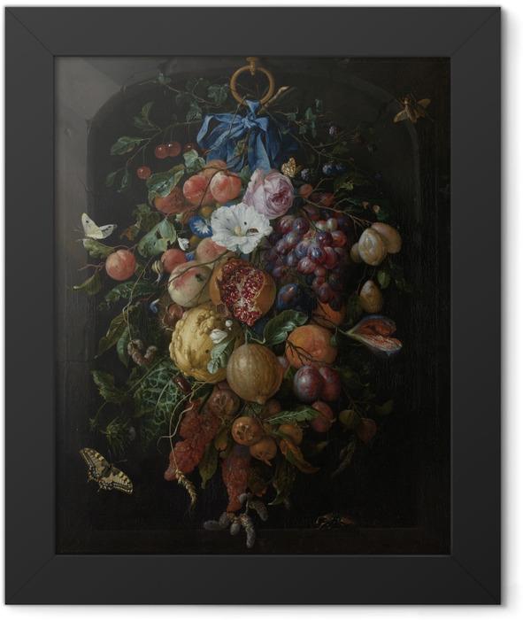 Gerahmtes Poster Jan Davidsz - Festoon of Fruit and Flowers - Reproduktion