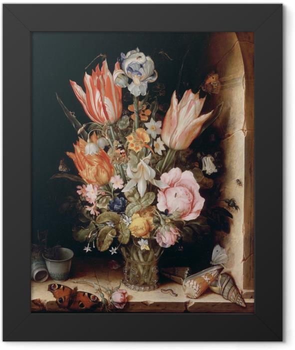 Poster en cadre Christoffel van den Berghe - Still Life with Flowers in a Vase - Reproductions