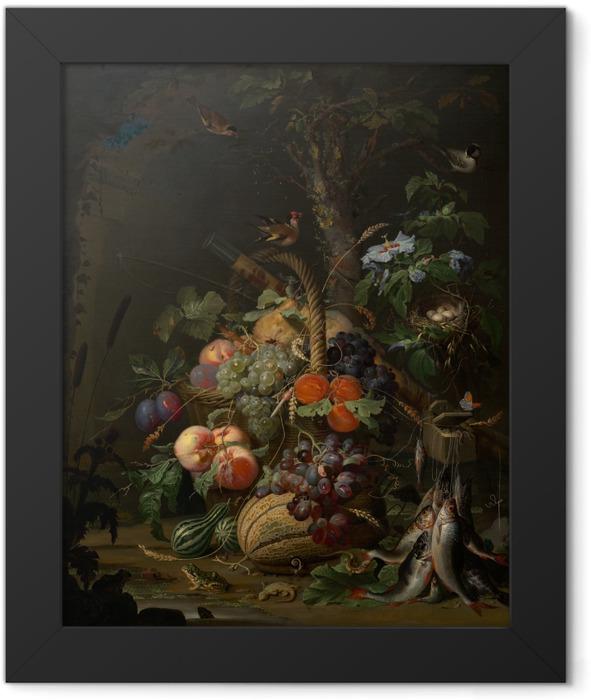 Plakat w ramie Abraham Mignon - Still Life with Fruit, Fish and a Nest - Abraham Mignon