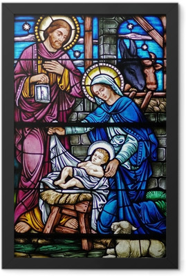 stained glass widow of nativity Framed Poster
