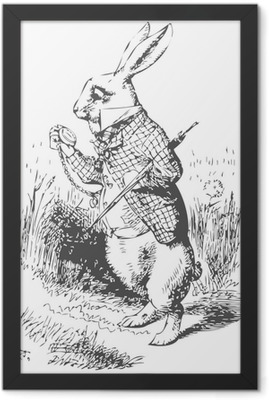 White Rabbit with watch Alice Wonderland Framed Poster