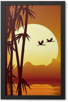 bamboo and sunset Framed Poster