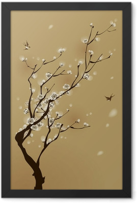 oriental style painting, plum blossom in spring Framed Poster