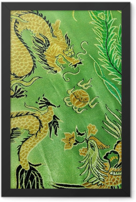 dragon and phoenix, chinese silk embroidery Framed Poster