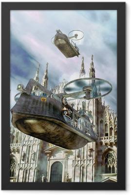 steampunk flying boat ship Framed Poster
