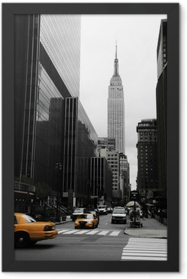 Emipre State Building and yellow, Manhattan, New York Framed Poster